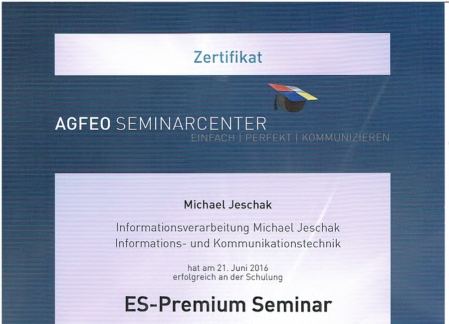 AGFEO ES-Premium Zertifikat