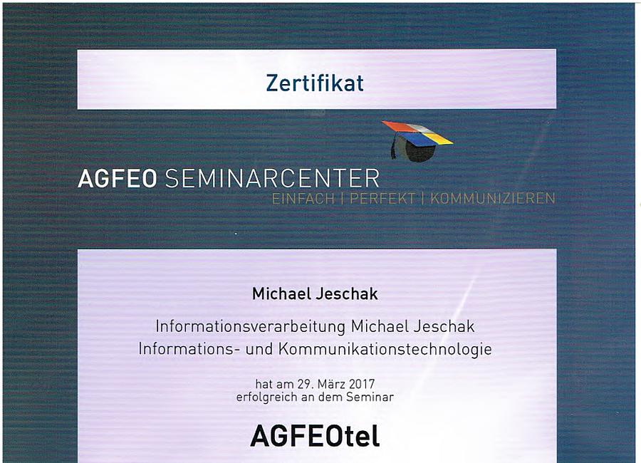 AGFEOtel Zertifikat 29.03.2017