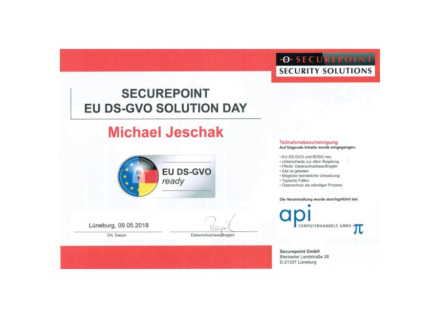 Securepoint Zertifikat EU DSGVO ready