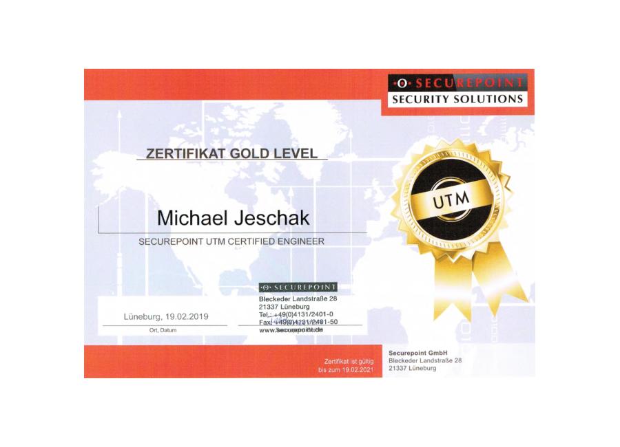 Securepoint Zertifikat Gold Level