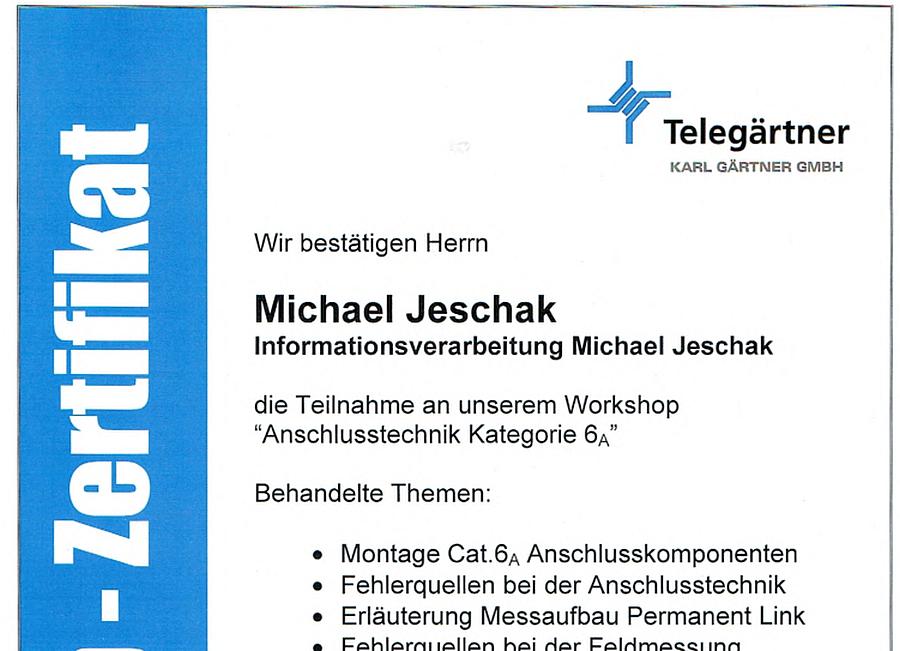 Telegaertner Anchlusstechnik Kategorie 6a